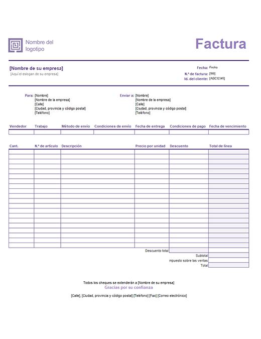 西班牙发票(FACTURA) 模板